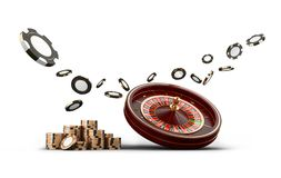 Casino roulette wheel chips isolated on white. Casino game 3D chips. Online casino banner. Black realistic chip. Casino roulette wheel chips and dice isolated on royalty free illustration