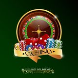 Casino roulette wheel with chips, red dice, isolated on green background. Illustration of Casino roulette wheel with chips, red dice, isolated on green Royalty Free Stock Photography