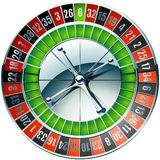 Casino roulette wheel with chrome elements. Vector illustration of detailed casino roulette wheel with chrome elements Stock Photos