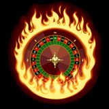 Casino roulette wheel in fiery ring on dark green background. Vector illustration Stock Photos