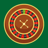Casino roulette wheel go round for risk game in vegas, lucky gambling fortune, play in betting for chance on win. Isolated vector illustration Stock Images