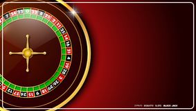Casino roulette wheel isolated on red background. Illustration of Casino roulette wheel isolated on red background Stock Images