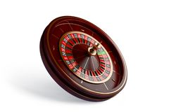Casino roulette wheel isolated on white background. 3d rendering illustration. Luxury Casino roulette wheel isolated on white background. Wooden Casino roulette Royalty Free Stock Images