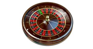 Casino roulette wheel. Casino roulette wheel isolated on white. 3D render illustration royalty free stock image