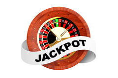 Casino Roulette Wheel with Ribbon Banner and Jackpot Sign. 3d Re Royalty Free Stock Photography