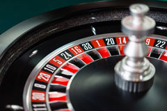 Casino roulette wheel. And it`s numbers in red and black color stock photo
