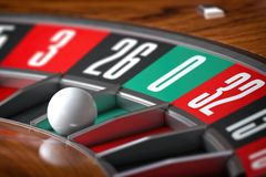 Casino roulette wheel with sector zero and white ball. Closeup. 3d illustration stock illustration