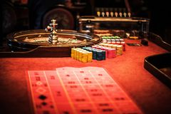 Casino Roulette Wheel Table. Closeup Photo. Roulette Game stock photos