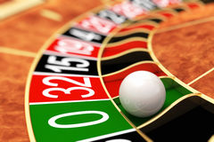 Casino roulette. Zero. Casino roulette ball stopped on zero Royalty Free Stock Images