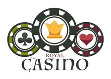 Casino royal club isolated icon poker chips gambling game. Gambling casino royal club isolated icon poker chips vector play cards blackjack game with money vector illustration