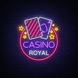 Casino Royal Neon Sign. Neon logo, emblem gambling, bright banner, neon casino advertising for your projects. Night. Light billboard, design element. Vector Royalty Free Stock Images