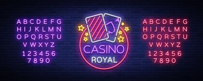 Casino Royal Neon Sign. Neon logo, emblem gambling, bright banner, neon casino advertising for your projects. Night Royalty Free Stock Photography