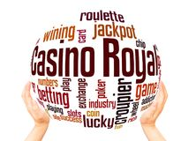 Casino royal word cloud sphere concept. Casino royal word cloud concept on white background stock photography