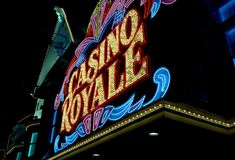 Casino Royale. Photo of neon lights of the casino royale casino and hotel in las vegas nevada.  This photo was taken in June of 1995 and is a scan from film Stock Image