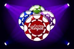Casino Royale baner med att tända symbolen som spelar chiper Symboler poker, symbol och text Vektorillustration för kasino stock illustrationer