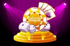 Casino Royale-Fahne mit dem Beleuchten der Ikone, die Chip und Würfel spielt Vektorsymbolschürhaken auf Stadiums-Podium-Szene Abb lizenzfreie abbildung