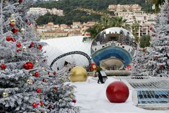 Casino`s square in Monaco. Reflections and snow in the casino`s square in the principate of Monaco Royalty Free Stock Photos