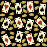 Casino seamless pattern with golden coins and poker cards, vector Stock Photos