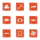 Casino segment icons set, grunge style. Casino segment icons set. Grunge set of 9 casino segment vector icons for web isolated on white background Royalty Free Illustration