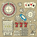 Casino Set. Set of Vector hand drawn Casino Elements stock illustration