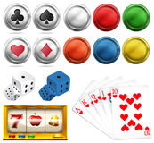 Casino set with tokens and cards Royalty Free Stock Image