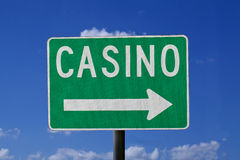Casino Sign. Casino direction sign with a blue sky background Stock Photography