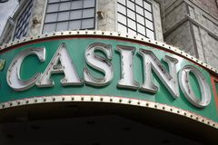 Casino Sign. A generic  neon Casino sign on facade of building Royalty Free Stock Image