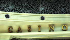 Casino Sign. Closeup of a sign at the entrance of a casino royalty free stock image