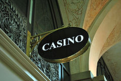 Casino Sign. Closeup of a sign at the entrance of a casino stock photography