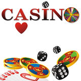 Casino sign. With fortune wheel, chips, dice and cards on white background Royalty Free Stock Photos