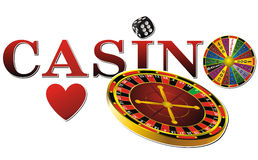 Casino sign. With roulette, fortune wheel, dice and cards on white background Royalty Free Stock Photography