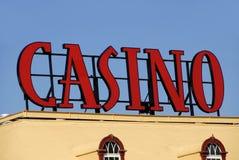 Casino Sign. On top of Gambling Hall Stock Photos