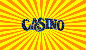 Casino Sign. Made of blue light bulbs Royalty Free Stock Photo