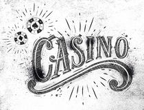 Casino sign coal. Casino sign with playing chips drawing with coal on dirty paper Royalty Free Stock Image