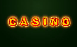 Casino sign with glowing lights. Retro light bulb plate. Vintage Stock Photo