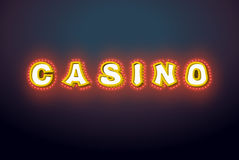 Casino sign with glowing lights. Retro light bulb plate. Vintage Stock Image
