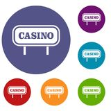 Casino sign icons set Stock Images