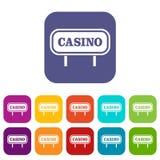 Casino sign icons set Stock Photo