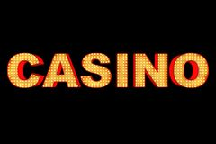 Casino Sign Made with Light Bulbs. 3d Rendering. Casino Sign Made with Light Bulbs on a black background. 3d Rendering Stock Photo