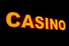 Casino Sign Made with Light Bulbs. 3d Rendering. Casino Sign Made with Light Bulbs on a black background. 3d Rendering Royalty Free Stock Photos
