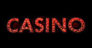 Casino sign. Neon illuminated casino sign outside of a casino Royalty Free Stock Image