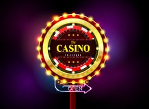 Casino sign neon light outdoor Royalty Free Stock Image