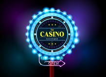 Casino sign neon light outdoor Stock Images