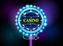 Casino sign neon light outdoor Stock Image