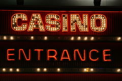 Casino Sign Neon Lights Stock Images