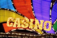 Casino Sign. Neon casino sign at night Stock Photos