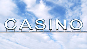 Casino sign. Over blue sky. Clipping path included Stock Image