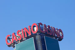 Casino sign. A perspective view from a casino sign on a tower Stock Photos