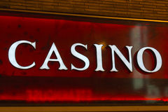 Casino sign. Real Casino sign on the facade Royalty Free Stock Images