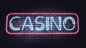 Casino sign. On a white brick wall. Illustration Stock Image